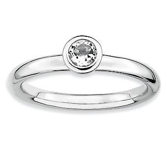 925 sterling sølv bezel polert rhodium belagt stables uttrykk lav 4mm rund hvit topaz ring smykker gaver til