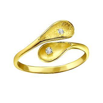 עלה-925 שטרלינג טבעות זהב מעוקב-בW23263x