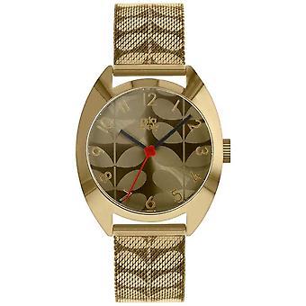 Orla Kiely Ladies Cheyne Correa de malla de acero inoxidable de oro ( Steel Steel Mesh Strap) Reloj OK4090