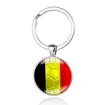 TRIXES ベルギー国旗黒黄色赤メタル キーリング