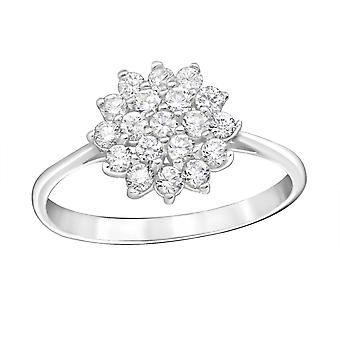 Flower - 925 Sterling Silver Jewelled Rings - W15453x