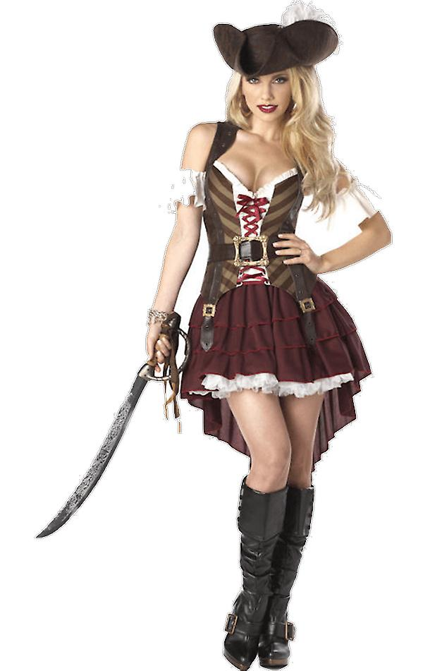 Womens Swashbuckler Pirate Costume Caribbean Ladies Fancy Dress Buccaneer Outfit