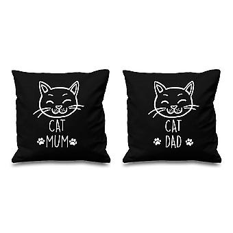 Cat Mum Cat Dad Black Cushion Covers 16