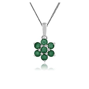 Gemondo 925 Sterling Silver 1.40ct Emerald Floral Pendant on Chain