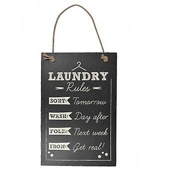 Laundry Rules Slate Hanging Plaque