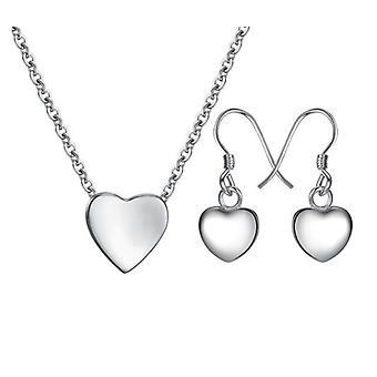 925 Sterling zilveren ketting en oorbellen met klein hartje