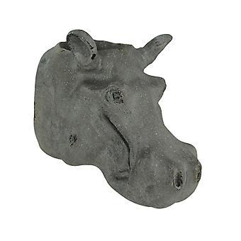 Grå stein finish Hippo hodet hengende planter statue