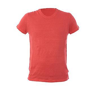 120% P0m7288000e908301p010 Men's Pink Linen T-shirt