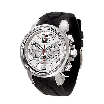 Jorg Gray Mens JG5600-24 Chronograph Watch White Patterned Dial Silicone Strap