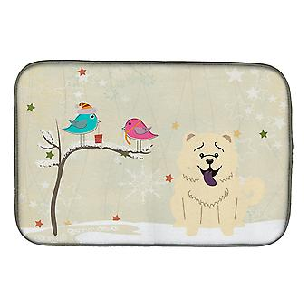 Christmas Presents between Friends Chow Chow White Dish Drying Mat