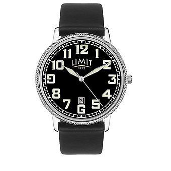 Limiet | Mens zwart lederen band | Zwarte wijzerplaat | 5747,01 horloge