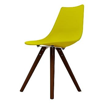 Fusion Living Iconic Lime Plastic Dining Chair With Dark Wood Legs