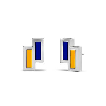 Rollins College Sterling Silver Asymmetric Enamel Stud Earrings In Blue and Yellow