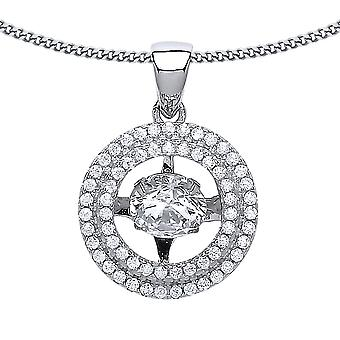 Jewelco London Ladies Rhodium Plated Silver White Round Brilliant cubic zirconia Floating Halo Pendant Necklace 18 inch