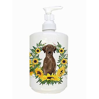 Chocolate Labrador Retriever Ceramic Soap Dispenser