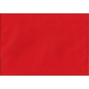 Säule Box rote Schale/Siegel C4/A4 farbige rote Umschläge. 120gsm Luxus FSC zertifiziertes Papier. 229 mm x 324 mm. Wallet-Stil-Umschlag.