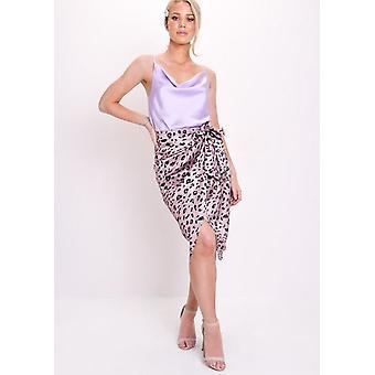 Leopard Print Satin Wrap Front Midi Skirt Lilac Purple