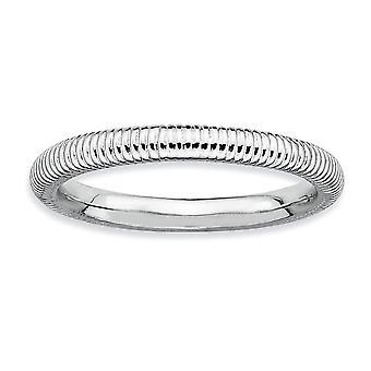925 Sterling Zilver gepolijst Rhodium verguld stackable expressies Rhodium Getextureerde Ring Size 5 Sieraden Geschenken voor vrouwen