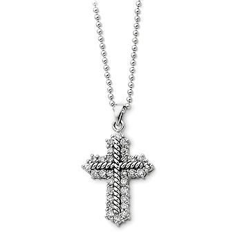 925 Sterling Silver Spring Ring finish CZ Cubic Zirconia Simulated Diamond Religious Faith Cross Necklace 18 Inch Jewelr