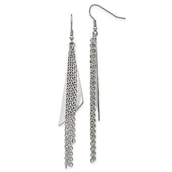 rustfritt stål polert shepherd krok lang dråpe dingle øredobber smykker gaver til kvinner