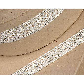 10m Ivory 25mm Wide Cotton Lace Border Ribbon for Craft