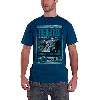 The Beatles T Shirt Shea Stadium 1965 Vintage Poster band Official Mens Blue