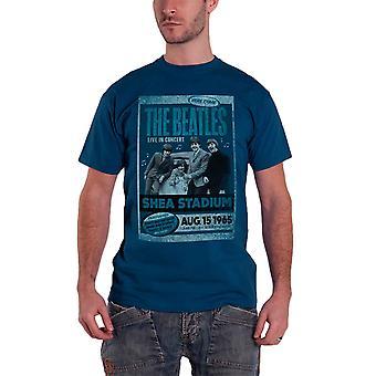 البيتلز تي قميص شيا ملعب 1965 خمر ملصق الفرقة الرسمية Mens الأزرق