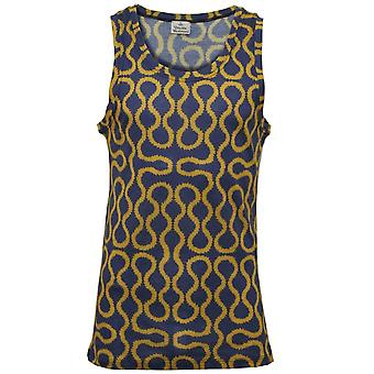 Vivienne Westwood Mercerised Jersey kronkeltje print vest, blauw/goud