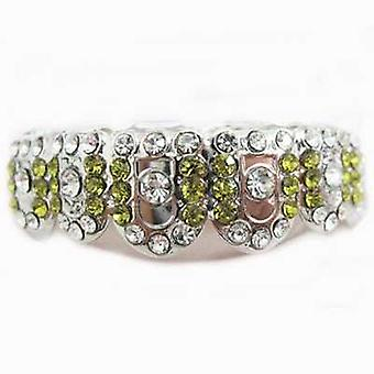 Grillz Silver Gatekeeper Iced Out Clear And Light Green Cz Diamonds [top]