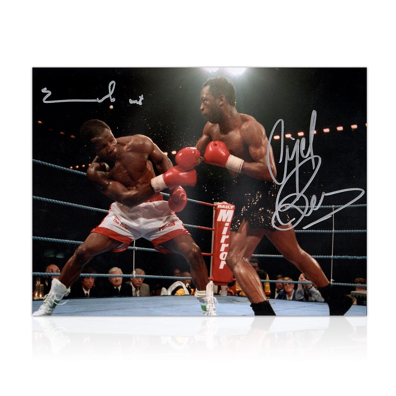 Nigel Benn And Chris Eubank Dual Signed Boxing Photo In Gift Box