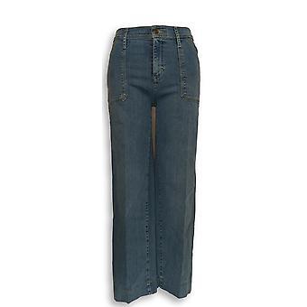 Isaac Mizrahi Live! Women's Petite Jeans 6 TRUE DENIM Wide Leg Blue A302225