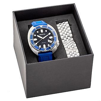 Heritor Automatic Matador Box Set with Interchangable Bands and Date Display - Blue/Silver