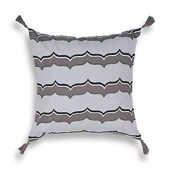 Exotic Square Taupe and Black Tassel Accent Pillow