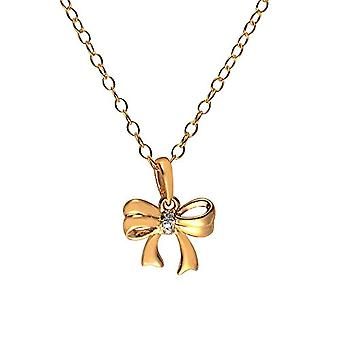 Ivy Gems-Leaning silver Sterling 925 gold-plated - with diamond - with bow-shaped pendant - with chain - length 46 cm