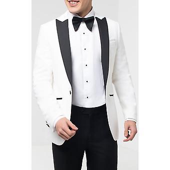 Dobell Herre hvid fløjl Tuxedo Jakke regelmæssig pasform kontrast peak revers