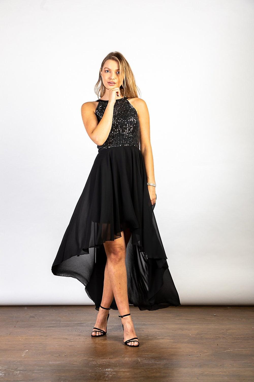 Luvforever Black Halterneck Hi-Lo Sequinned Bust Dress