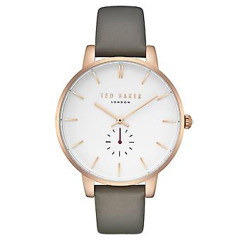 Ted Baker Olivia Quartz White Dial Grey Leather Strap Ladies Watch TE50310002