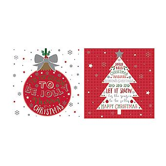 Eurowrap Christmas Acetate Cards With Bauble Tree Designs (Box With 24 Packs Of 12 Greetings Cards)