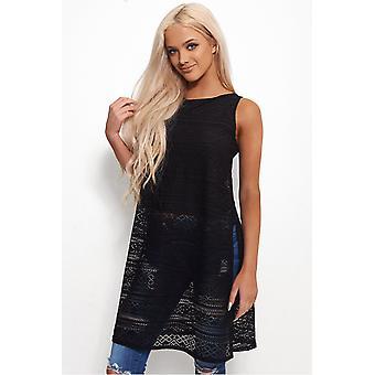 Oversized Side Split Lace Top