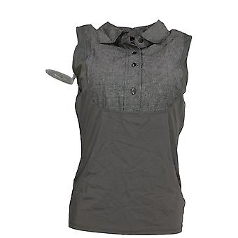 Kathleen Kirkwood Women's Top Dictrac-Ease Chambray Collared Gray A281344