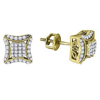 925 שטרלינג תחתוני סבא הטון הצהוב CZ מעוקב מדומה יהלום כיכר עפיפון עגיל פתוח תכשיטים מתנות לגברים