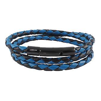 Skórzany sznurek skórzany 4 mm męski naszyjnik czarny / niebieski 17-100 cm długości z dźwignią zapięcia czarny pleciony