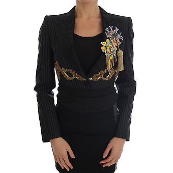 Dolce & Gabbana Black Crystal Blazer Jacket