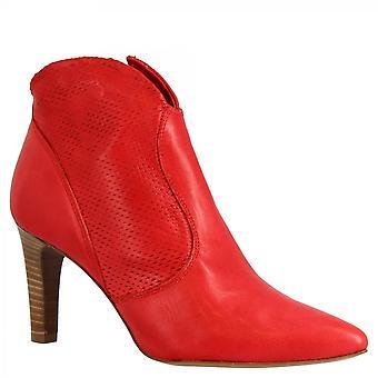 Leonardo Shoes Women's handmade heels ankle boots in red openwork calf leather
