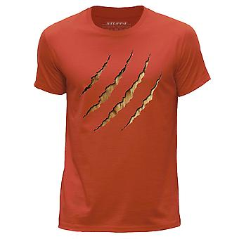 STUFF4 Men's Round Neck T-Shirt/Animal Claw Dog Fur/Orange
