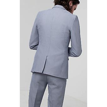 Avail London Mens Blue Stripe Suit Jacket Skinny Fit Seersucker