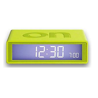 Lexon LR130 Flip Alarm Clock Wake Up LCD On Off Light Best Design Award Lime Green