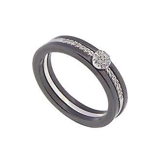 Złoty pierścień ceramiczny z diamentem