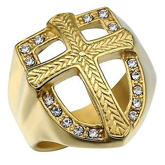 Golden zirconia knights templar armor ring