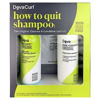 Devacurl how to quit shampoo: cleanser & conditioner duo 8 oz ea & mini towel